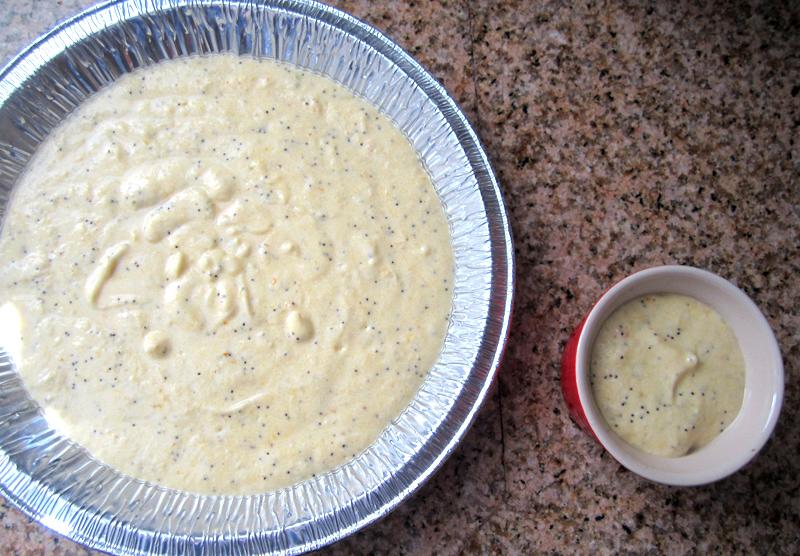 """""""top shot of cake batter in aluminum pan and ramekin"""""""