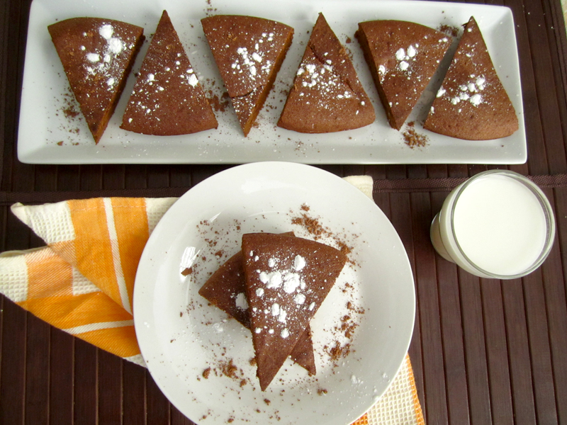 Top view of brownie slices on plates